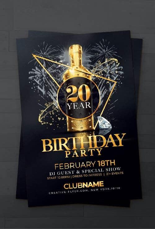 elegant birthday flyer template psd