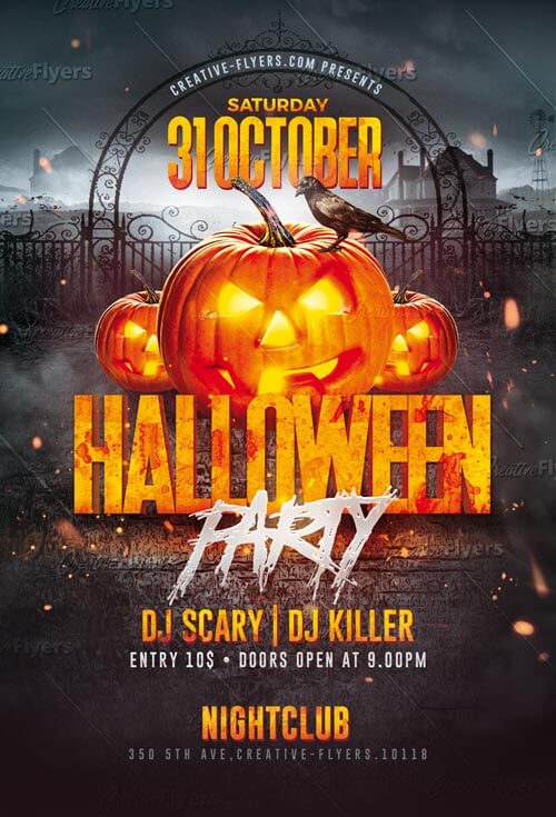 download halloween party flyer templates psd creative flyers
