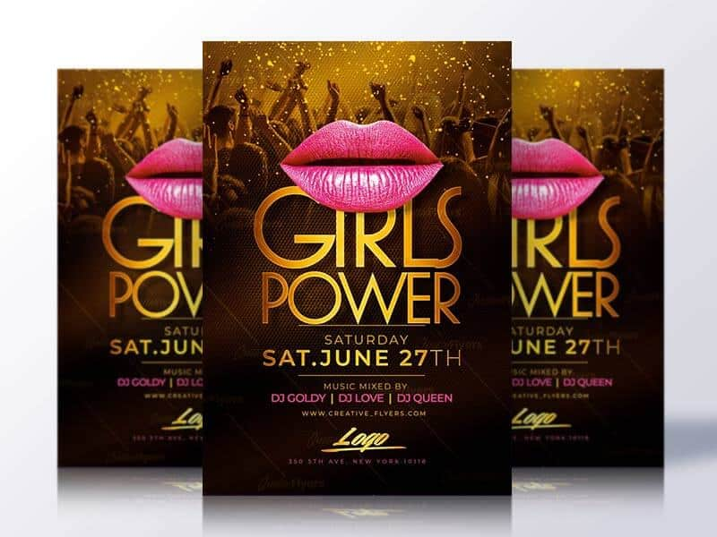 girls power flyer psd