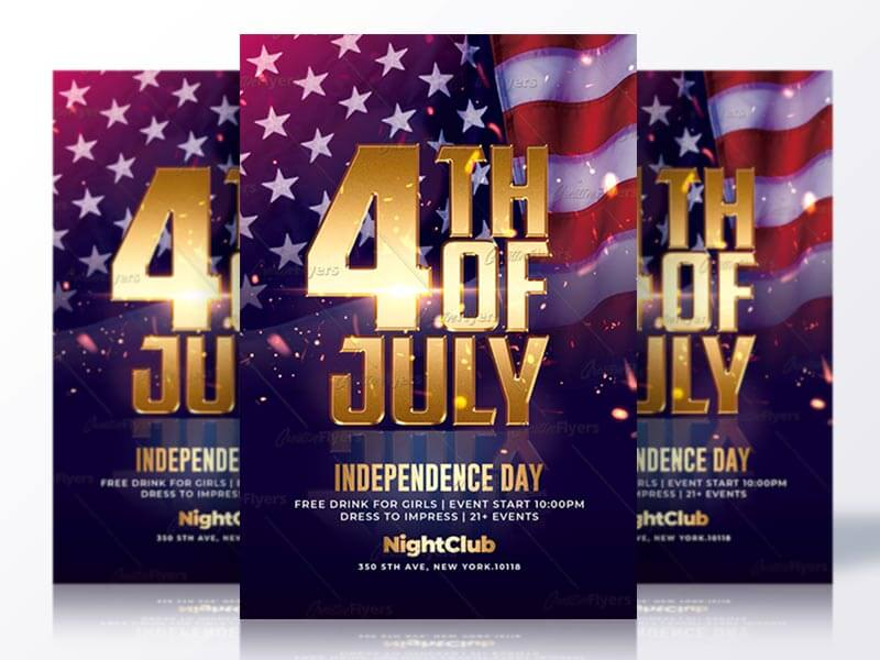 4th of july psd flyer