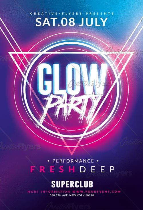 glow party flyer template for photoshop creativeflyers