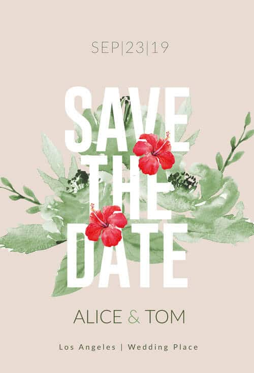 floral save the date card wedding psd creative flyers