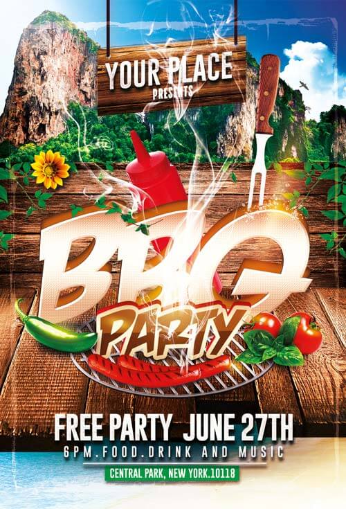 bbq party flyer templates psd 003 creativeflyers
