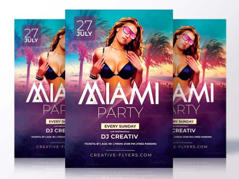 summer party download psd flyer creativeflyers
