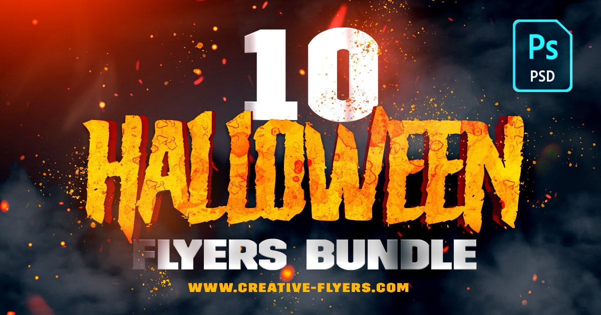 10 halloween flyers bundle