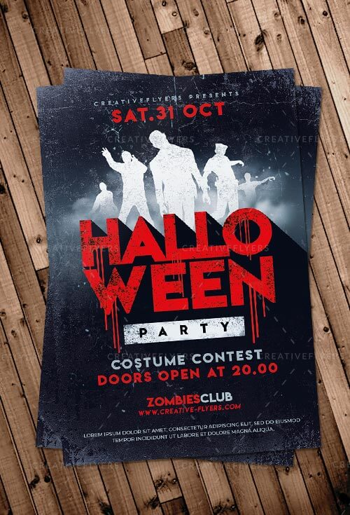 halloween party flyer templates zombies poster creative flyers