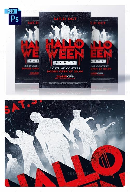 Halloween Party Flyer Templates | Zombies Poster - Creative Flyers