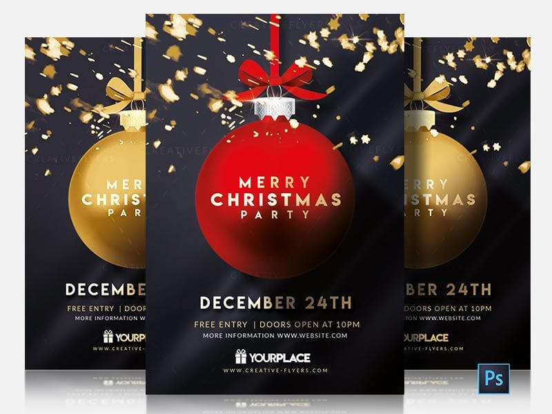 Christmas Flyers.Merry Christmas Party Flyer Template Download Psd