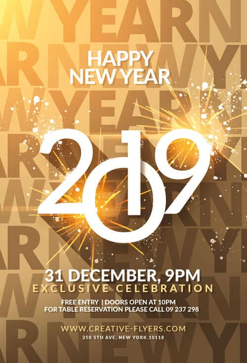 happy new year flyer template psd creative flyers