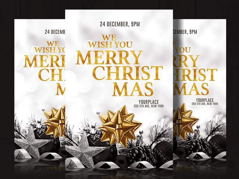 gold christmas invitation