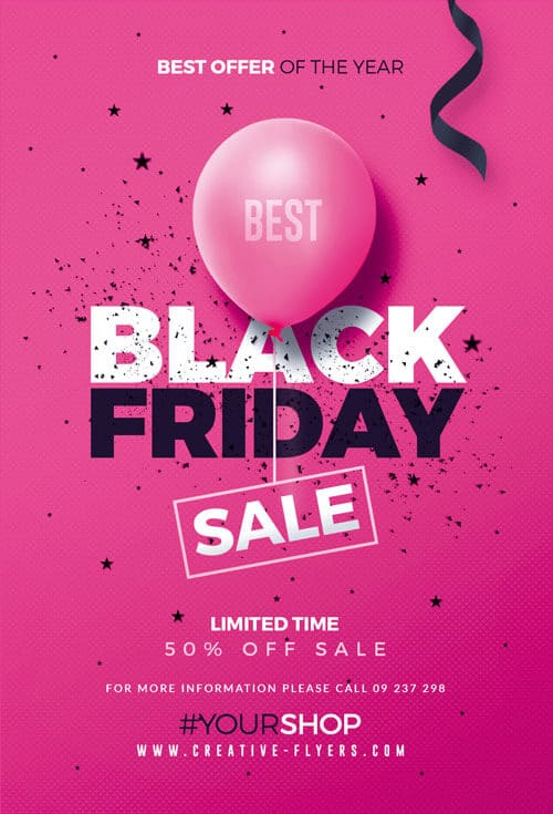 black friday sale flyer template for print