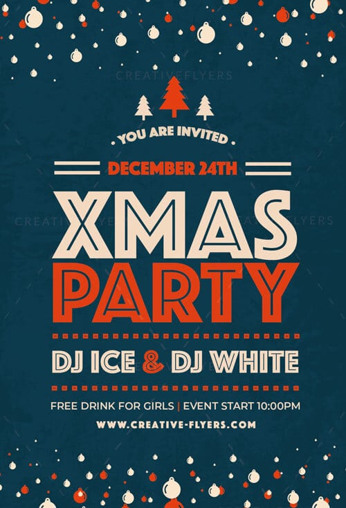Christmas Party Flyer.Xmas Party Flyer