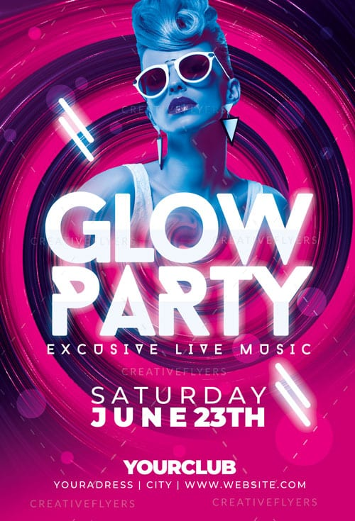 Glow Party Music Flyer