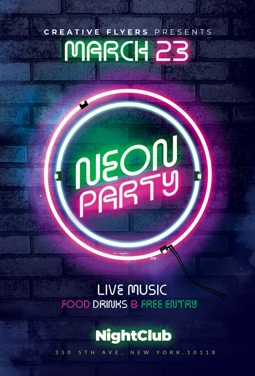 Neon Party Flyer psd