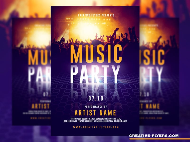 Live Music Party Flyer PSD