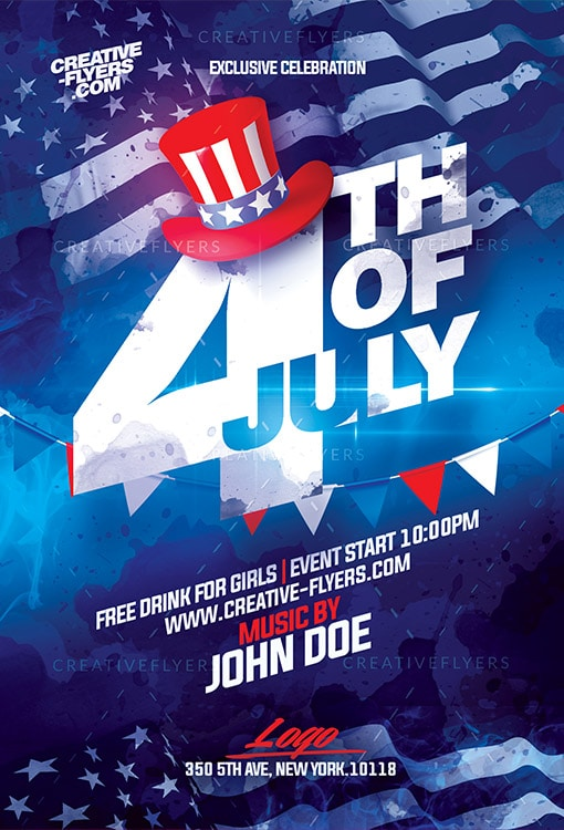4th of july psd flyer template