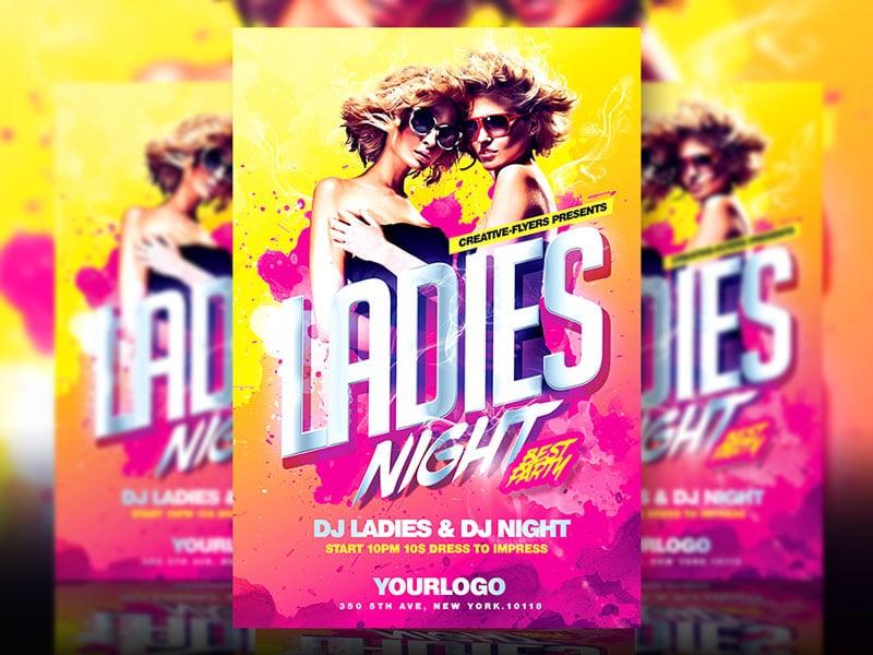 ladies night psd flyer