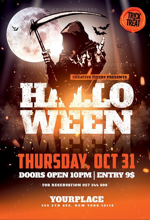 halloween party flyer photoshop illustration
