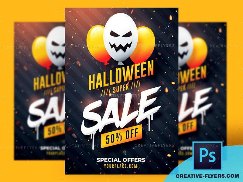 Halloween Sale flyer template