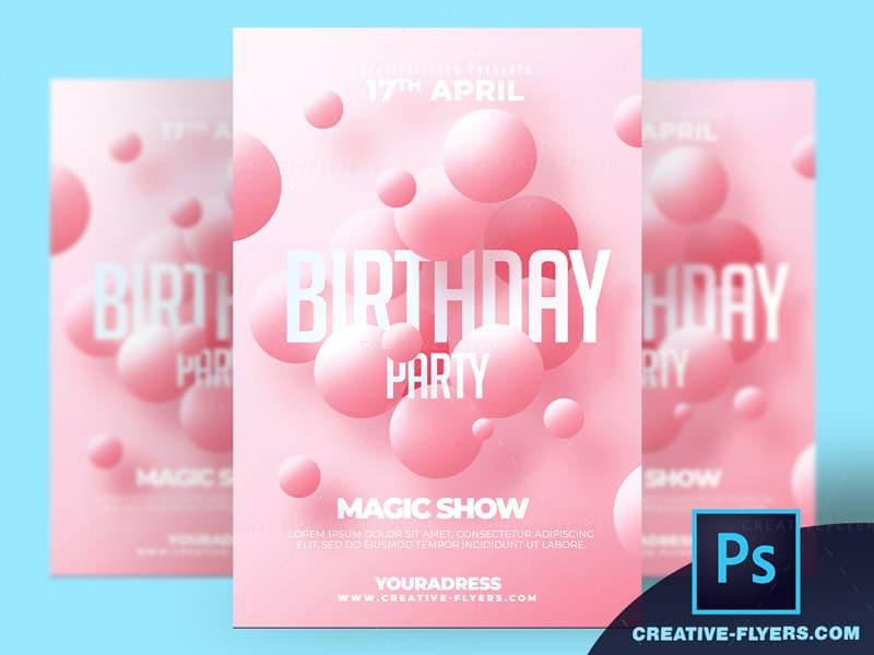 Pink Birthday Flyer template 2