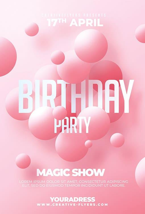 Pink Birthday Flyer Template