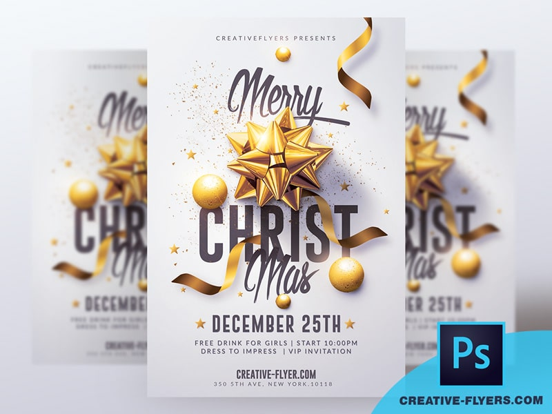 White and Gold Christmas Flyer