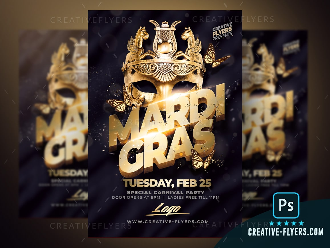 Gold Mardi Gras Flyer