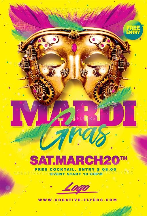 Mardi Gras Flyer PSD