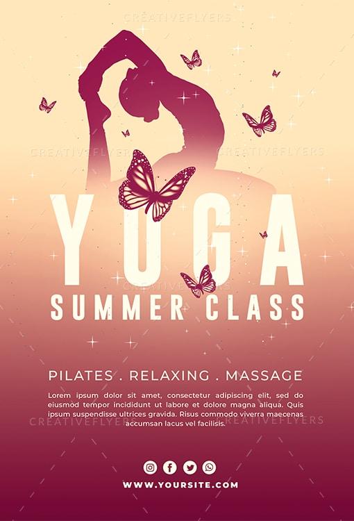 Yoga Summer Class Flyer Template Creative Flyers
