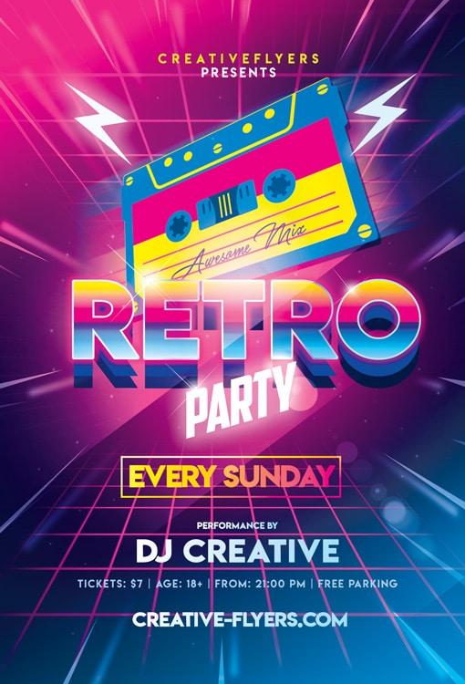 Retro 80s Party Flyer